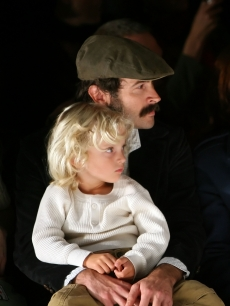 Jason Lee and son Pilot Inspektor Riesgraf Lee at Mercedes Benz Fashion Week