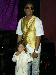 Jermaine Jackson and son Jermajesty at the Motown 45 anniversary celebration in 2004