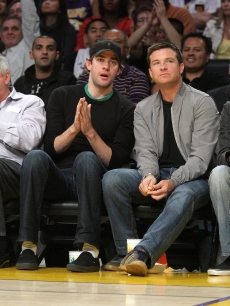 Jason Bateman and John Krasinski attend the Los Angeles Lakers vs Sacramento Kings game at the Staples Center