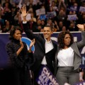 Barack Obama with wife Michelle and Oprah Winfrey on the campaign trail