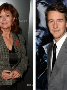 Table tennis fans Susan Sarandon and Ed Norton