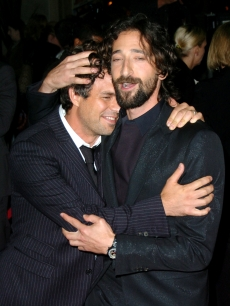 Mark Ruffalo and Adrien Brody hug at 'The Brothers Bloom' premiere during the 2008 Toronto International Film Festival
