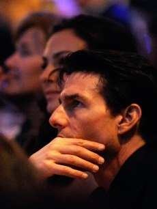Tom Cruise watches intently at the NASCAR Sprint Cup Series Awards