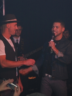 Promoter Tom Whitman and host Wilson Cruz