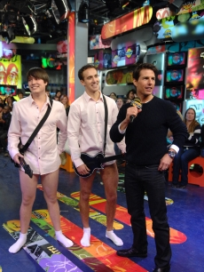 Tom Cruise with fans dressed up as Tom's 'Risky Business' character on MuchOnDemand, Toronto, Canada