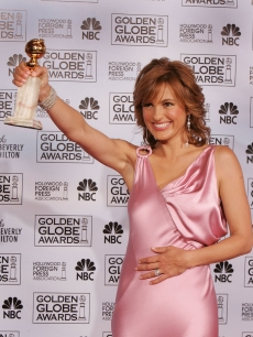 Actress Mariska Hargitay poses with her award for 'Actress in a Leading Role - Drama Series' at the 62nd Annual Golden Globe Awards