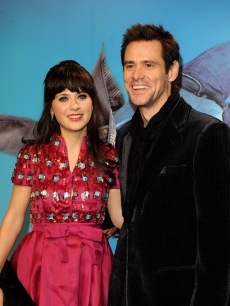 Zooey Deschanel and  Jim Carrey attends the premiere of 'Yes Man' at Capitol Cinema December 11, 2008 in Madrid, Spain
