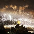 Fireworks explode over the Sydney Harbour Bridge and the Opera House during the New Year&#8217;s celebrations on Sydney Harbour in Sydney, Australia