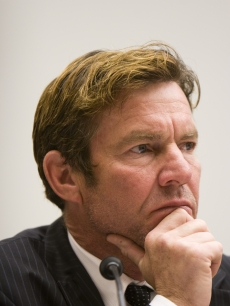 Dennis Quaid testifies at a hearing on Capitol Hill May 14, 2008 in Washington, DC.