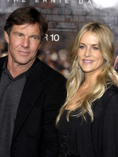Dennis Quaid and Kimberly Buffington pose for a picture at the Universal Pictures premiere of 'The Express' September 25, 2008