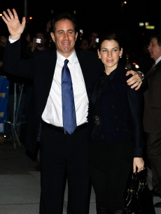 Jerry Seinfeld and wife Jessica Seinfeld visits 'Late Show with David Letterman' at the Ed Sullivan Theater on December 15, 2008 in New York City