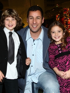 Jonathan Heit, Adam Sandler and Laura Ann Kesling attend the after party for the premiere of Disney&#8217;s &#8216;Bedtime Stories&#8217; in LA