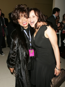 Eartha Kitt and Rosie Perez attend the after party for 'The Public Sings A 50th Anniversary Celebration' at the Time Warner Center January 30, 2006 in New York City