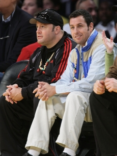 Kevin James and Adam Sandler attend the Los Angeles Lakers vs Boston Celtics game on Christmas Day