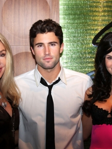 Brody Jenner celebrates New Year's Eve with his mom Linda Thompson (left) and Playmate Jayde Nicole at The Palms Casino Resort