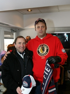 Vince Vaughn and NHL Commissioner Gary Bettman at the Winter Classic hockey game at Wrigley Field in Chicago