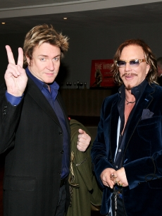 Simon Le Bon & Mickey Rourke attends the U.K. premiere of 'The Wrestler' at the Vue Cinema, Leicester Square on January 5, 2009 in London, England.