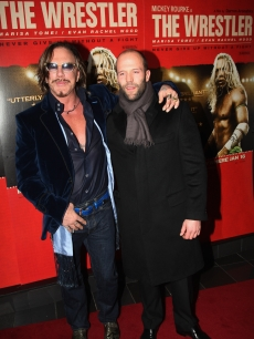 Mickey Rourke and Jason Statham attend the UK VIP Screening of 'The Wrestler' held at the Vue West End on January 5, 2009 in London, England