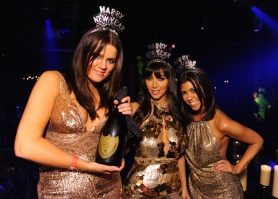 Khloe, Kim and Kourtney Kardashian party it up on New Year's Eve at LAX Nightclub in Vegas