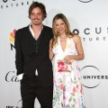 Christopher Backus and Mira Sorvino smile as they hit a post-Golden Globes soiree