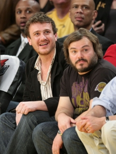 Jason Segel and Jack Black attend a Lakers game in LA