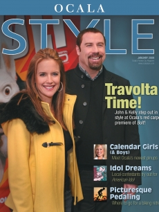 John Travolta and Kelly Preston on the cover of Ocala Style magazine