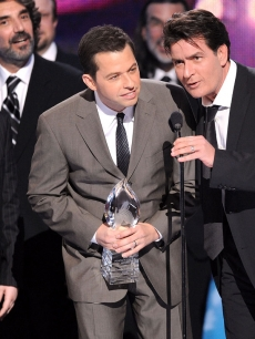 Angus T. Jones, Jon Cryer and Charlie Sheen accept the Favorite TV Comedy award for &#8216;Two and a Half Men&#8217; at the People&#8217;s Choice Awards
