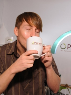 Jack McBrayer drinks up from the PureVia Coffe & Tea Bar at Access' Stuff You Must lounge