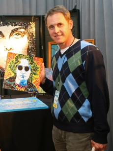 Mark Moses picks up a John Lennon mosaic portrait by AS Schimmel Gold at Access' Stuff You Must lounge