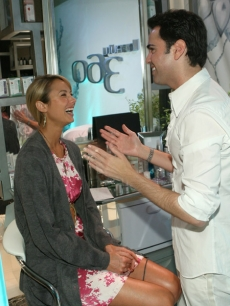 Stacy Keibler laughs with Scott-Vincent Borba at the Beauty 360 Prestige Beauty Suite at Access&#8217; Stuff You Must lounge