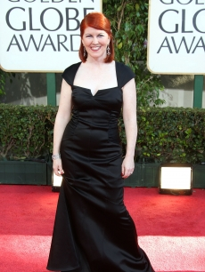Kate Flannery from NBC's 'The Office' sports a black dress on the red carpet