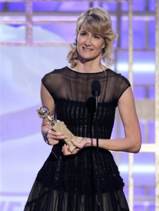 Laura Dern gives her acceptance speech after winning a Globe for Best Supporting Actress for 'Recount'