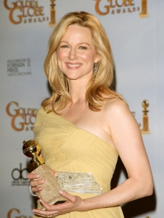 Laura Linney is all smiles with her Golden Globe for Best Actress in a TV Miniseries for 'John Adams'