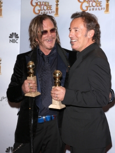 Mickey Rourke and Bruce Springsteen celebrate their Golden Globes for 'The Wrestler' backstage