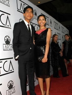 Dev Patel and actress Freida Pinto arrive at the 34th Annual Los Angeles Film Critics Association Awards