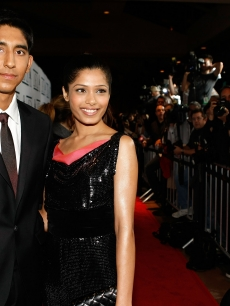 Dev Patel and actress Freida Pinto arrive at the 34th Annual Los Angeles Film Critics Association Awards in LA