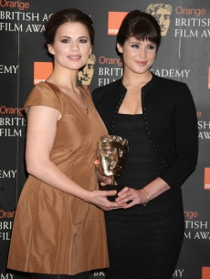 Gemma Arterton and Hayley Atwell pose for a photocall as they announce the nominations for the Orange British Academy Film Awards 2008 at BAFTA headquarters, Piccadilly on January 15, 2009 in London, England