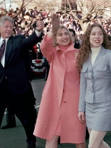 Bill, Hillary and Chelsea Clinton at the Inauguration Parade in 1997