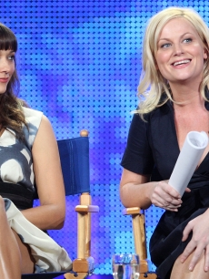 Rashida Jones and Amy Poehler attend the NBC Universal portion of the 2009 Winter Television Critics Association Press Tour at the Universal Hilton Hotel on January 15, 2009 in Los Angeles, Californi