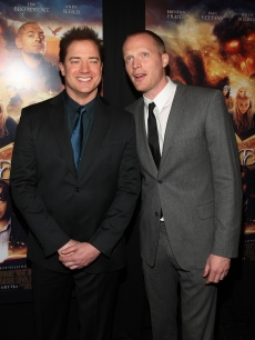 Brendan Fraser (L) and Paul Bettany attend the New York premiere of 'Inkheart'