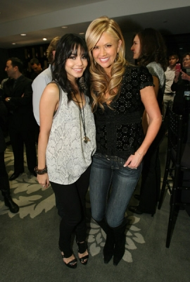 Vanessa Hudgens and Access' Nancy O'Dell are all smiles at Access' Stuff You Must lounge
