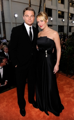 Leonardo DiCaprio and Kate Winslet on the Golden Globes red carpet