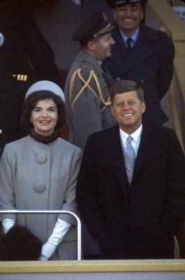 Jackie and John F. Kennedy during Inauguration Day 1961