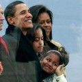 The incoming first family watch the We Are Once celebration at The Lincoln Memorial