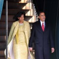 President-elect Barack Obama (R) and his wife Michelle Obama depart Blair House before his Inauguration as the 44th president of the United States of America January 20, 2009 in Washington, DC.