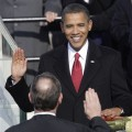 Barack Obama takes the oath of office from Chief Justice John Roberts to become the 44th president of the United States