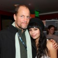 Woody Harrelson and Zoe Kravitz pose for the photogs at Sundance