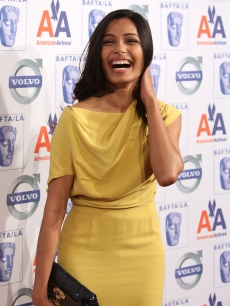 Freida Pinto sticks with yellow at the 5th annual British Academy of Film and Television Arts-LA Awards Season Tea Party in LA