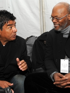 George Lopez and Samuel L. Jackson have a chat backstage at We Are One