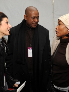 Marisa Tomei, Forest Whitaker and Angela Bassett chat backstage at We Are One